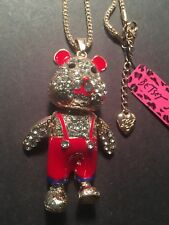 Red Enamel Crystal Bear Betsey Johnson Necklace with movable parts-BJ10120