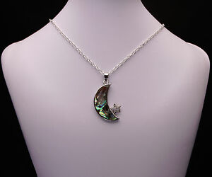 Abalone Pearl Moon Pendant Necklace