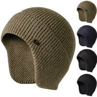 Mens Womens Knitted Aviator Bomber Beanie Hat Warm Lining With Ear Flaps Ski Cap