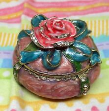 New Hand Painted Enameled Rose Topped Jewelry or Trinket/Ring Box