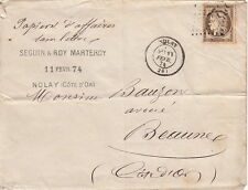 Lettre n°56 Nolay (Cote D'Or) Tarif Papiers D'affaires Cover 1874