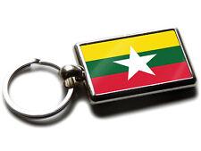 Myanmar Burma Drapeau National Couleurs Chrome de Qualité Porte Clé Photo