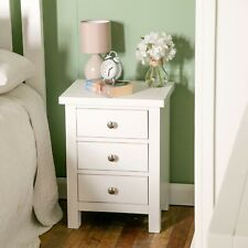 White Bedside Table 3 Drawer Cabinet Painted Solid Wood Nightstand Chest Cornish