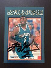 SIGNED 1992-93 FLEER STAMP COA LARRY JOHNSON RC YEAR 1ST NBA AUTO HORNETS  Draft