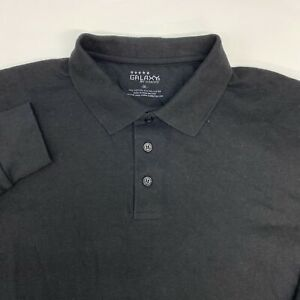 NWT Galaxy by Harvic Polo Shirt Men's 2XL XXL Long Sleeve Black Cotton Blend