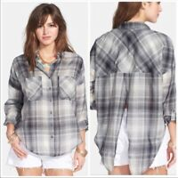 Free People Womens Come On Down Plaid Button Down  Shirt Top Split Back Size S