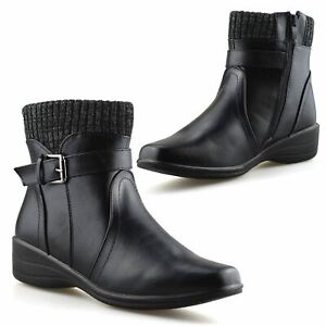 Ladies Womens New Mid Wedge Heel Warm Lined Zip Up Winter Ankle Boots Shoes Size