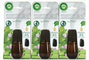 (3) Air Wick Essential Mist Wild Mint Up To 45 Days Fragrance Refill 0.67 Oz