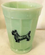 Jade Jadite Jadeite Milk Green Glass Paneled Tumbler w/ Black Scottie Scotty Dog