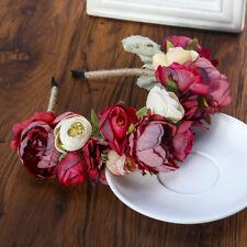Bridal Red Flower Headband Crown Hairband Floral Garland Headwear Wedding Beach