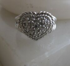 JUDITH RIPKA Ring Sterling Silver 925 CZ Pave Heart Shaped Size 7