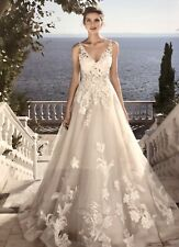 Justin Alexander Wedding Dress Size 16 Lace & Tulle Ballgown In Sand & Ivory.