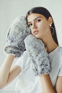 Rabbit Fur Gloves Women Hand Warmers Mens Mittens Gloves Hand Warmers (Silver)