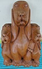 Vintage Folk Art Wood Carving/Sculpture Basset Hound Dogs~Mom and 2 Puppies