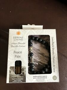 Serene Living Aroma Bracelet Peace Paix Lava Rock Stones Size 7.5