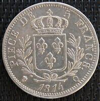 FRANCE 5 FRANCS LOUIS XVIII 1814 Q ARGENT