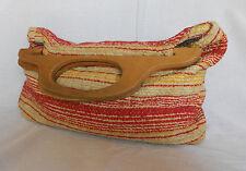 Vintage 70s Boho Purse Handbag Clutch Knitting Bag Woven Wooden Handles Stripes
