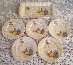 6 Crinoline Lady Cake Plates Adderley England for Lawley's Regent Street 1940's