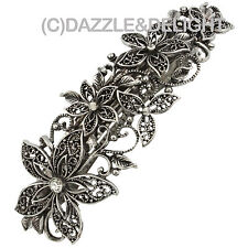 BARRETTE HAIR CLIPS SILVER FILIGREE HAIR BARRETTE FRENCH HAIR SLIDE DIAMANTE