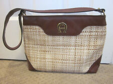 Vintage ETIENNE AIGNER Large Straw Burgundy Leather Shoulder Bag Brass Hardware