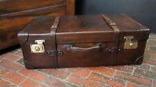 Riesig Antik Leder mit Gürtel Autofahren Trunk Koffer