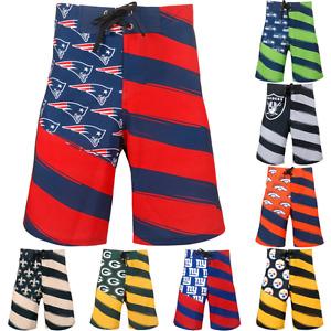 NFL Football Mens Team Logo Flag Stripe Swim Wear Suit Board Shorts - Pick Team