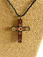 Vintage 90s Hans Painted Cross Black Beaded Necklace Unique Jewellery Keepsake