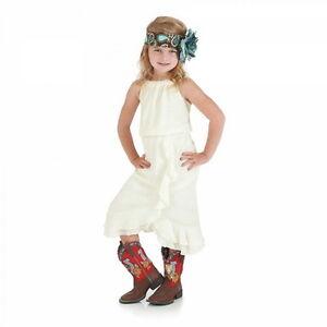 Wrangler Girls Sleeveless Dress & Gathers on Bodice - S -Vanilla Cream-GWD665N