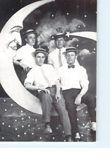 Four Young Men With The Moon California Postcard PEN IS MIGHTIER THAN THE SWORD