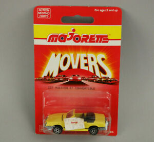 NOS Vintage Majorette Movers 200 Series #227 Yellow Ford Mustang GT Convertible