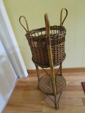 "Vintage Indoor Wicker bamboo Furniture Basket Table Planter 2 tier 31 ¾"" Coastal"
