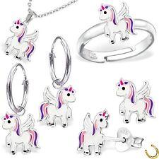 Pegasus Einhorn Ohrstecker Ring Anhänger Kette 925 Silber Pferd Ohrringe Kinder