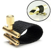 Fabric Metal Saxophone Ligature Alto Tenor Standard Rubber Sax Mouthpiece Black