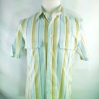 Tulliano Large Mens Shirt Button Down Short Sleeve Stripe Yellow Blue