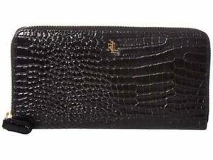 Lauren Ralph Lauren Zip Around Croc Embossed Boxed Leather Wallet-Black/Gold