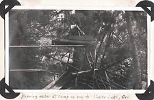 VINTAGE 1919 RUNNING WATER FLUME AT CAMP ON WAY TO CRATER LAKE OREGON OLD PHOTO