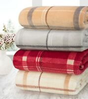 Luxury Large Check Fleece Blanket Throw Super Soft 130 x 180 Cm Cream Grey