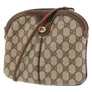 GUCCI GG Plus Shoulder Bag Web Strip Brown PVC Leather Vintage Italy Auth #BA56