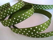 "5 yard Army Green/White Polka Dots Grosgrain 3/8"" Ribbon/Craft/Bow R79-28"
