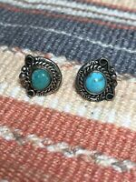 #890 Vintage Navajo SunRay Stamped Sterling Silver 925 Blue Turquoise Earrings