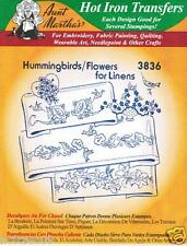 Hummingbirds & Flowers #3836 Aunt Martha's Hot Iron Embroidery Transfer Pattern