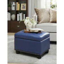 Convenience Concepts Designs4Comfort 5th Ave Storage Ottoman, Blue PU - 163010BE