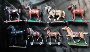 LOT 8 ANTIQUE VINTAGE GERMAN PULL ALONG HORSE ON WHEELS TOY PAPIER MACHE WOOD
