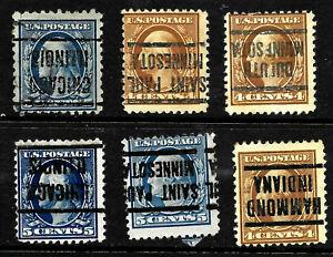 Inverted Precancels Washington Franklin Collection 4-5 Cent Untyped US 68D42