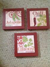 "Framed Tiles, 8"" Square, Jalapeño, Chili, Cilantro.  Beautiful.  Maroon Frames."