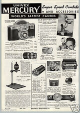 1941 PAPER AD Univex Mercury Fastest Candid Camera 35MM Film