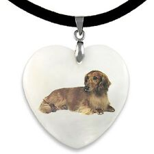 Long Hair Dachshund Dog Natural Mother Of Pearl Heart Pendant Necklace PP144
