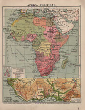 1938 MAP ~ AFRICA POLITICAL ~ GUINEA