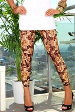 Juniors Leggings Size S Retro Sexy Sheer Brown Lace Floral Print Nylon