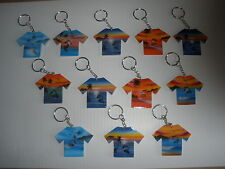 (12) AIRBRUSHED TROPICAL SCENES WOOD T-SHIRT SURF SURFING BEACH KEY CHAINS